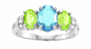 Large Oval Birthstone Triplet Gold Ring - with Simulated Stones