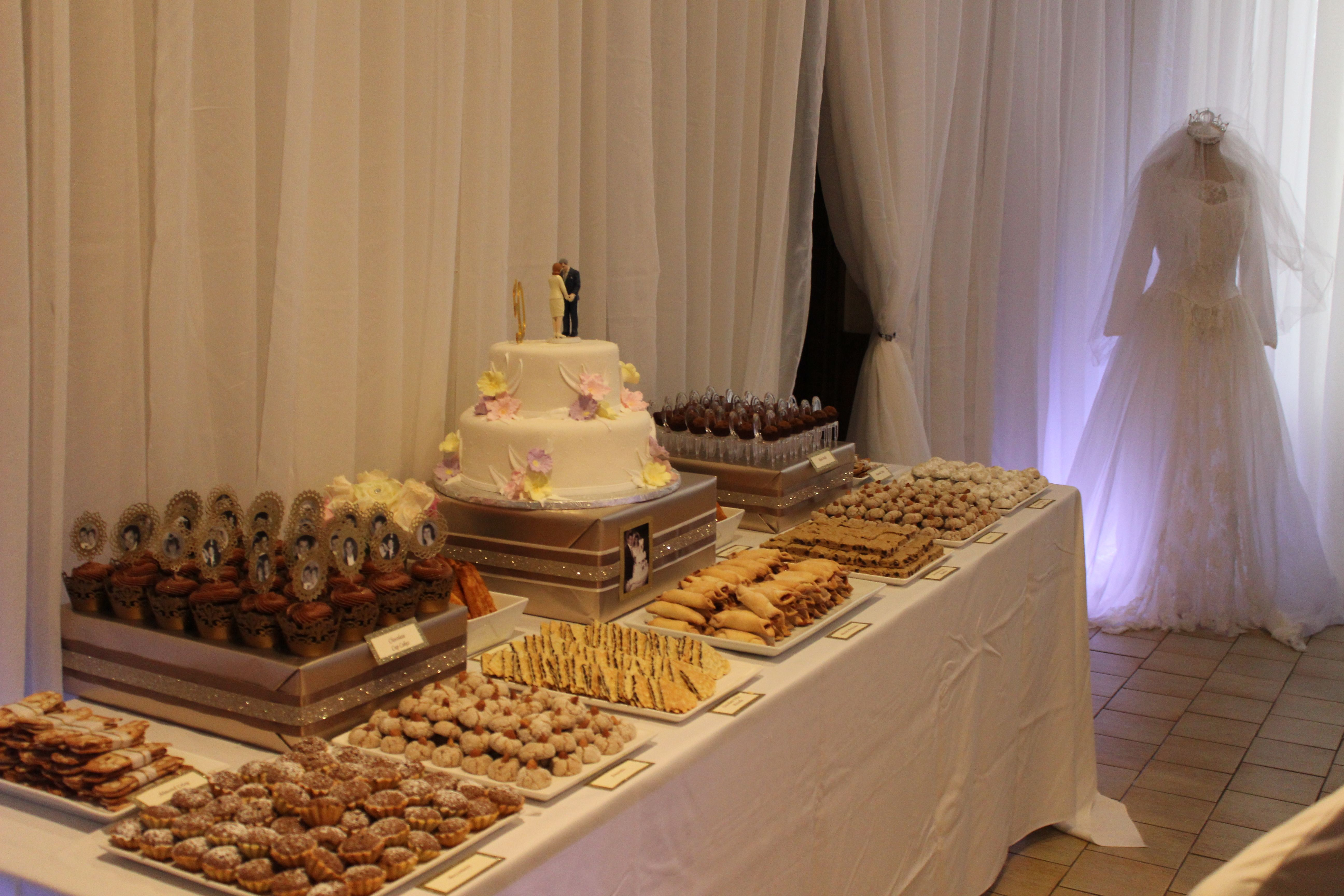 Parents 50th Anniversary Dessert Table Love How She Used Wedding Dress For Decor Anniversary Dessert 50th Anniversary Party Dessert Table