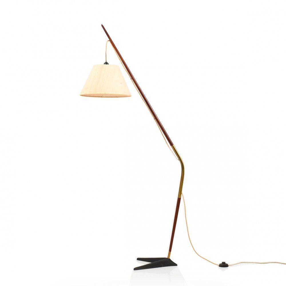 For Sale Sven Aage Holm Sorensen Fishing Pole Floor Lamp In Teak 1950s In 2020 Floor Lamp Lamp Teak