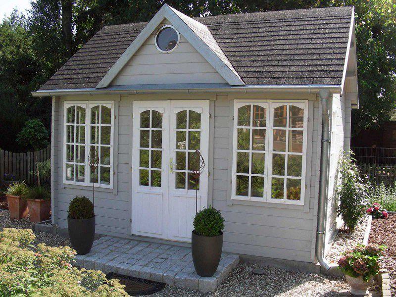 Gartenhaus schwedenhaus streichen Gartenhaus grau-weiß: moderner Gartentrend mit Stil   Eingang ...