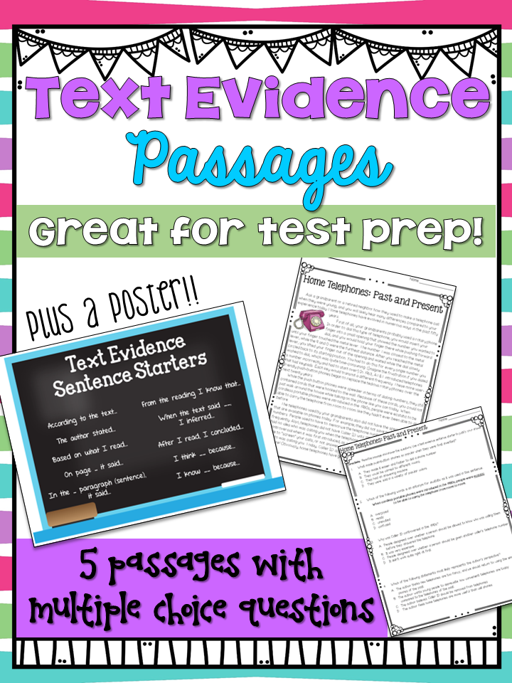 text evidence worksheets and sentence starters poster this includes 5 passages with multiple choice questions and space for student to write sentences that - Citing Textual Evidence Worksheet