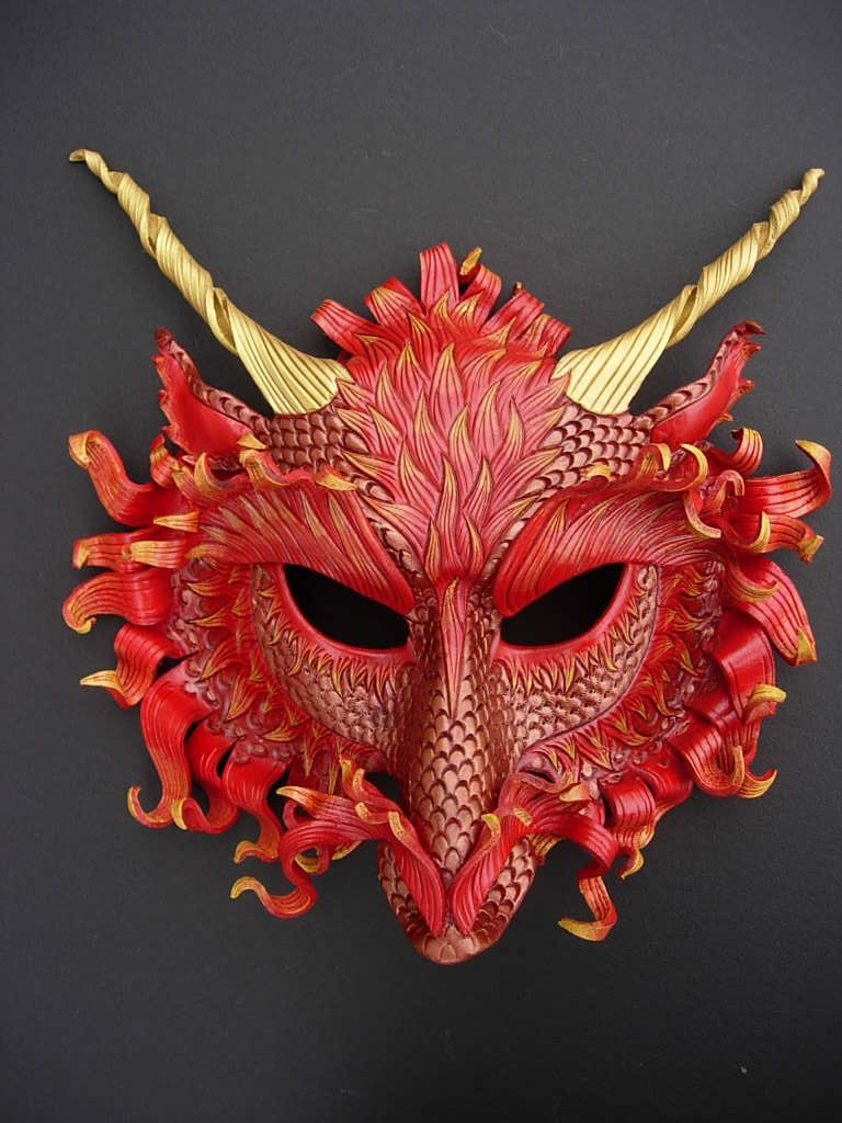 73c283e8748c Fire Dragon Mask by *merimask Dravens mask for the Casterwall masquerade,  except blue and green with black horns.