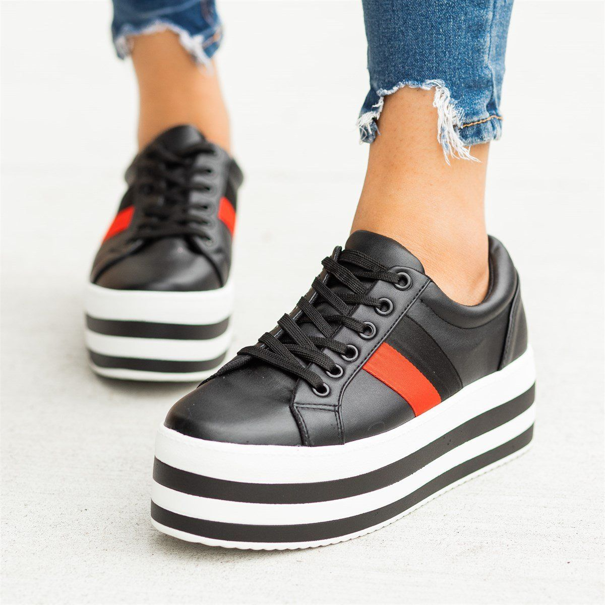 Trendy Striped Platform Sneakers