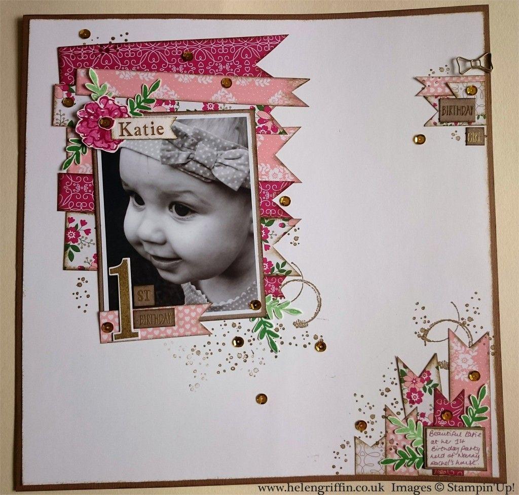 Baby scrapbook ideas uk - Katie 1st Birthday Scrapbook Layout By Helen Griffin