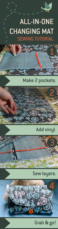 DIYAll-in-One Changing Mat by madebymarzipan features a wipeable vinyl surface, two hanging pockets for diapers and wipes, and an elastic closure that can be fastened with one hand. It folds up into a tidy clutch. Check out the instructional video. #DIY #Changing_Mat #madebymarzipan