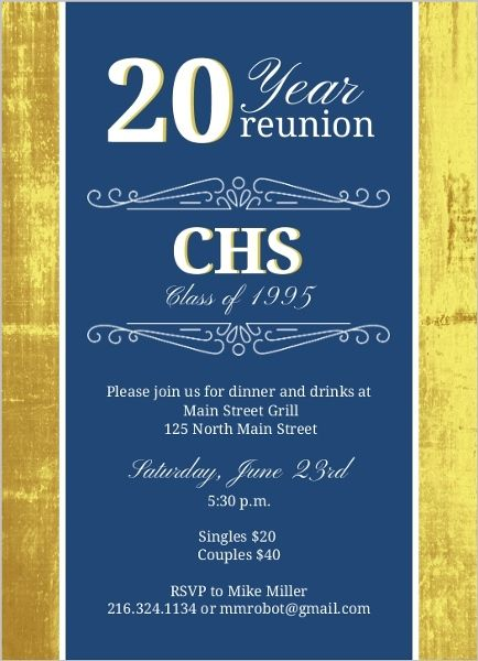 Classic colors 20 year class reunion invitation by purpletrail easily customize this classic colors 20 year class reunion invitation design using the online editor all of our reunion invitations design templates are stopboris Image collections