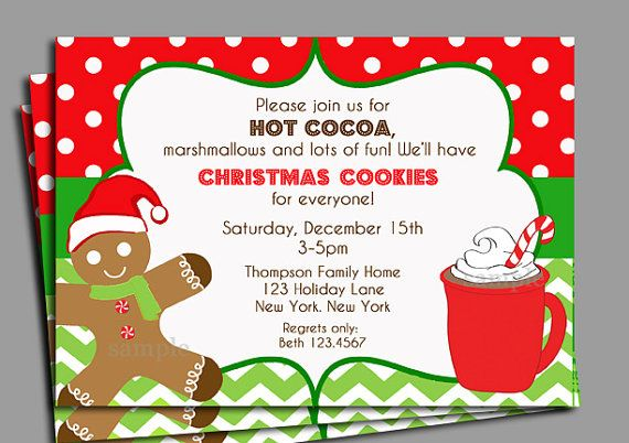 Christmas Hot Cocoa and Cookies Invitation Printable Christmas