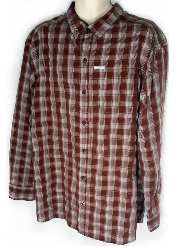 Columbia Shirt XXL Long Sleeve Plaid Burgundy Gray 2XL Zip Pocket Polyester #Columbia #ButtonFront