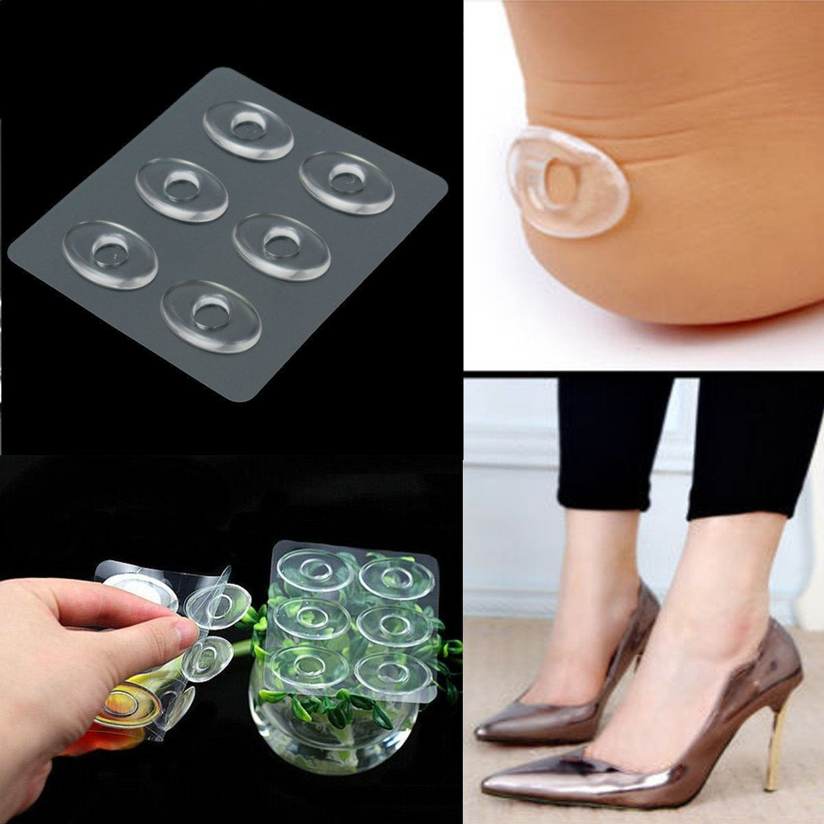 6pcs Silicone Gel Shoe Insole Inserts Pad Cushion Foot Care Heel Grips Liner Heel Grips Feet Care Gel Toes