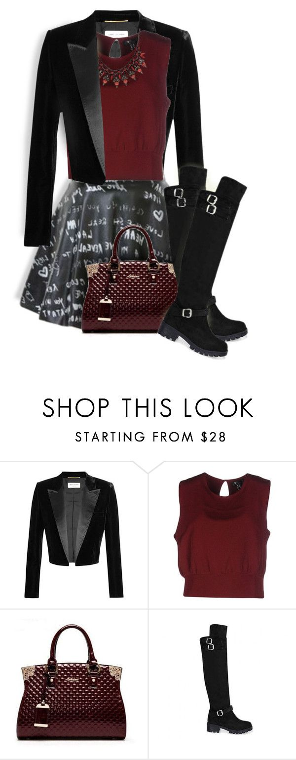 """""""Maroon & Black"""" by maison-de-forgeron ❤ liked on Polyvore featuring Yves Saint Laurent, MSGM, Cutie and Elizabeth Cole"""