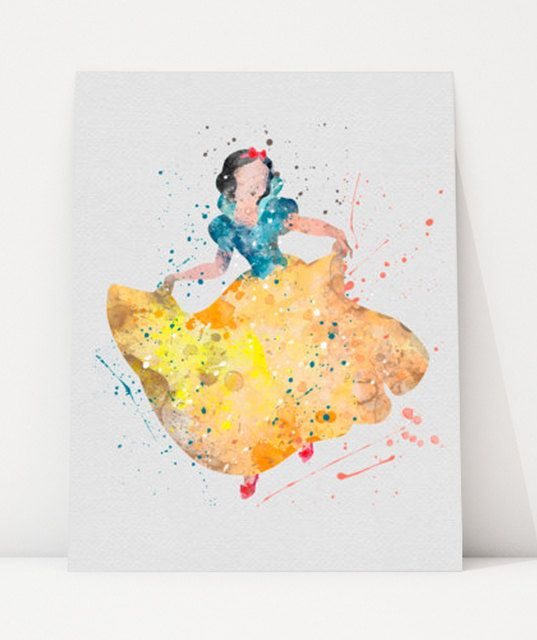 Princess Snow White DISNEY Watercolor Poster Print, Girl\'s Room Wall ...