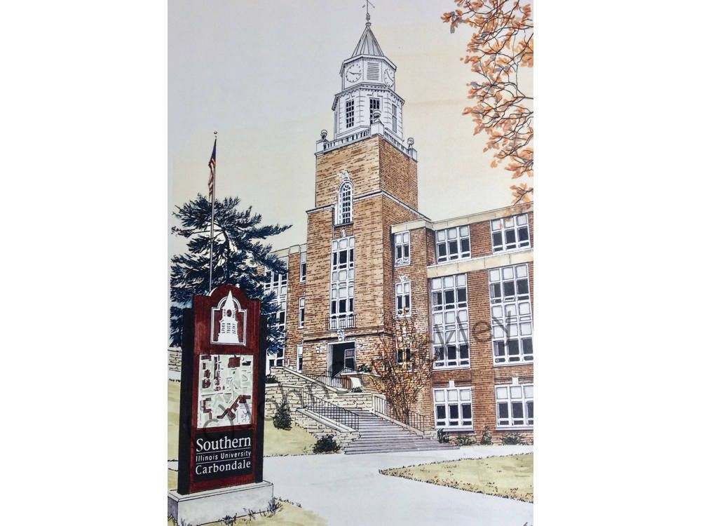 Southern Illinois University Carbondale LIMITED EDITION Pen and Ink and Watercolor Art Print Illustration - Graduation Gift, Alumni by CollegeArtStoeckley on Etsy