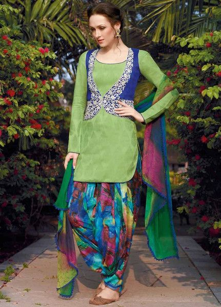 4c060b9121 Green Jacket Style Cotton Punjabi Suit | Punjabi Suits at Lashkaraa ...