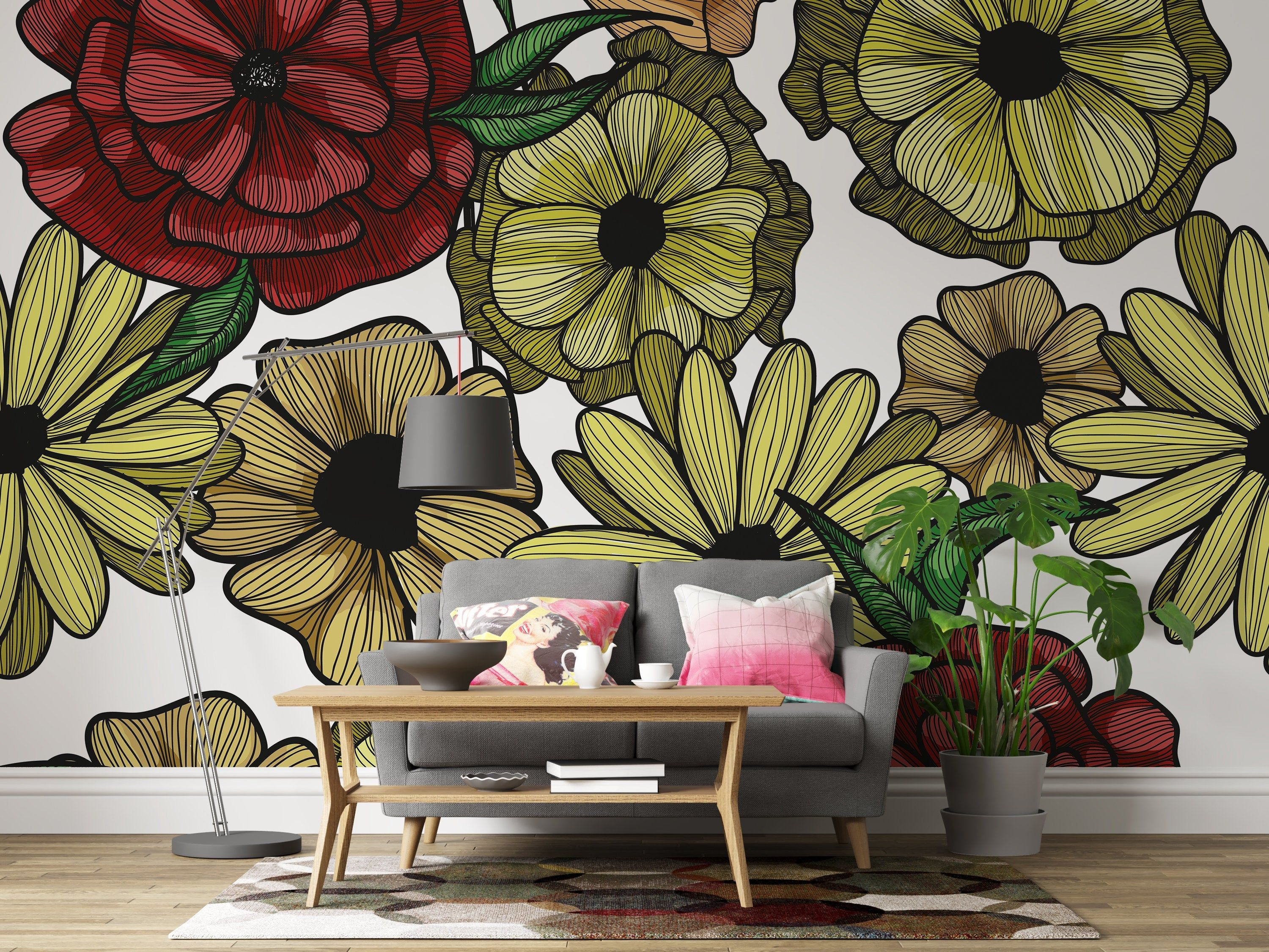 Removable Wallpaper Poppy Floral Peel And Stick Wallpaper Wall Mural Reusable Wall Art Self Adhesive Wallpaper Eco Friendly Removable Wallpaper Peel And Stick Wallpaper Old Wallpaper