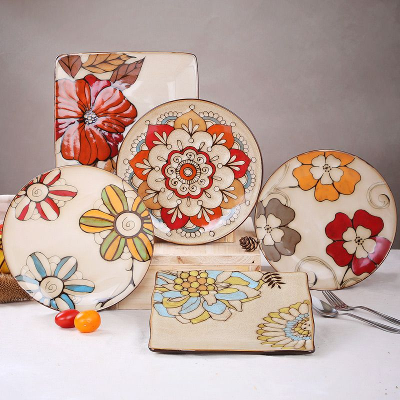Hand - Painted Ceramic Plate Dish Western Style Dinner Plates Dishes And Plates Sets Kitchen Accessories Chinese Plate & Hand - Painted Ceramic Plate Dish Western Style Dinner Plates Dishes ...