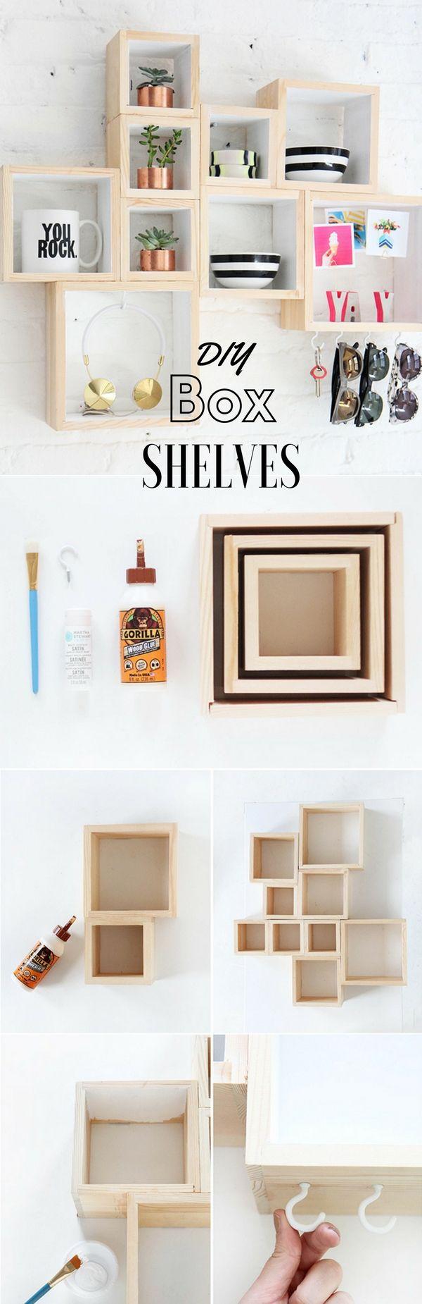 Box Shelves Dorm Decor Apartment Decor Craft Shelves Budget Save Money Diy Dorm Decor Diy Room Decor How To Ex Room Diy Room Decor Bedroom Diy