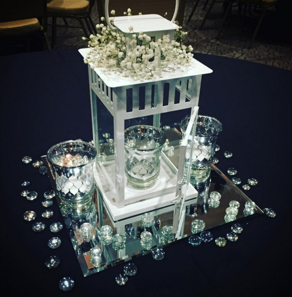 Wedding Flowers Centerpieces Cost: (12) Available. (Upgraded Cost Of Flowers) White Lantern