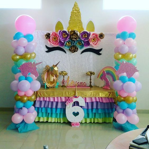 Decoracion de mesa principal fiesta de unicornio 12 for Decoracion para pared unicornio