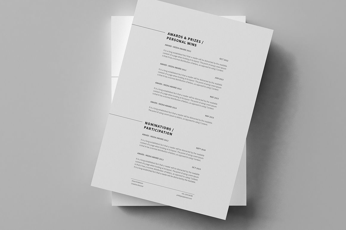 Minimal Resume Cv Curriculum Vitae 12 Pages On Behance