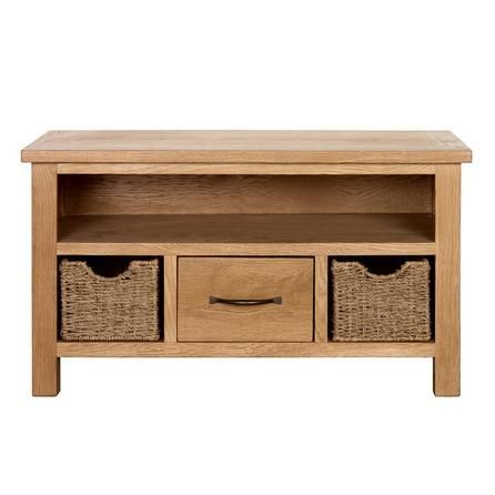 dunelm sidmouth textured light brown tv stand with baskets - Light Colored Tv Stands