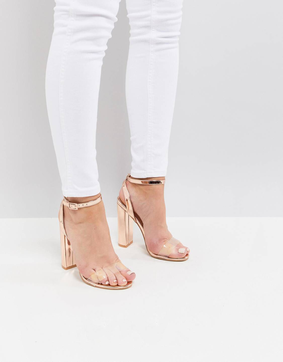 0771eac2df4 Public Desire Natasa Rose Gold Block Heeled Sandals in 2019