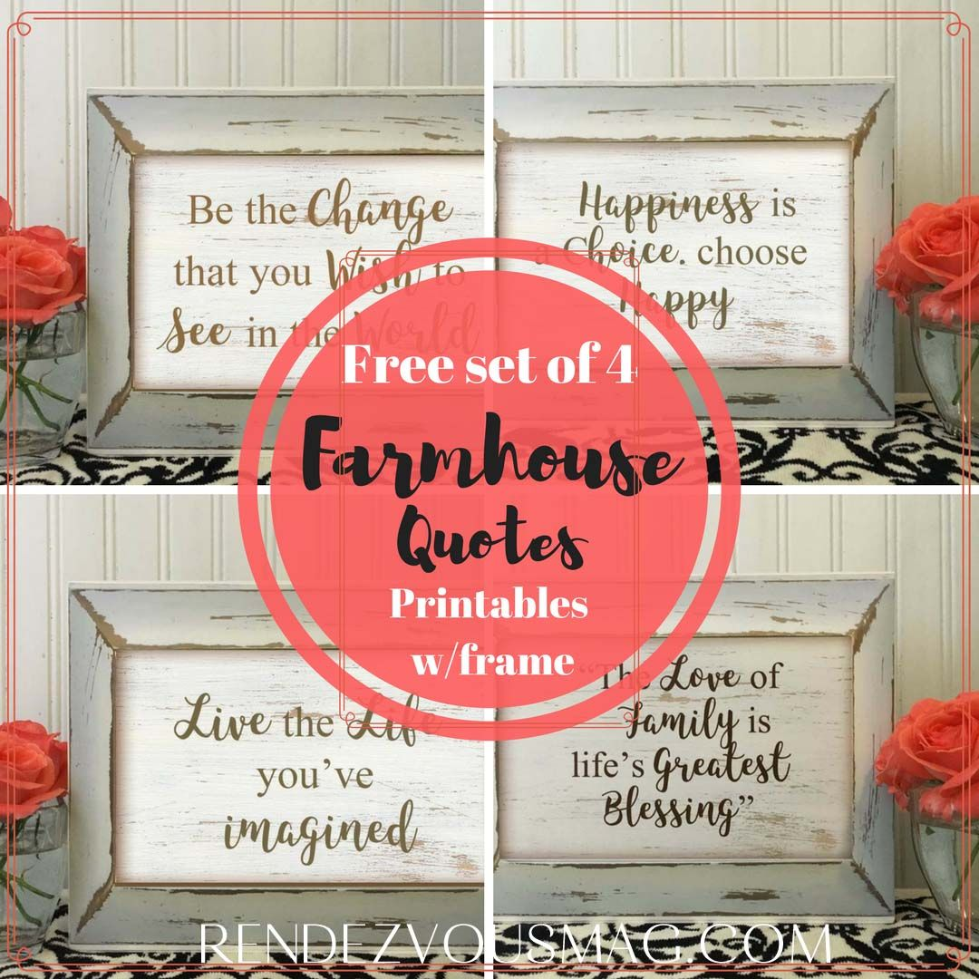 free set of 4 farmhouse quotes printables farmhouse decor rustic diy printable signs on farmhouse kitchen quotes free printable id=54084