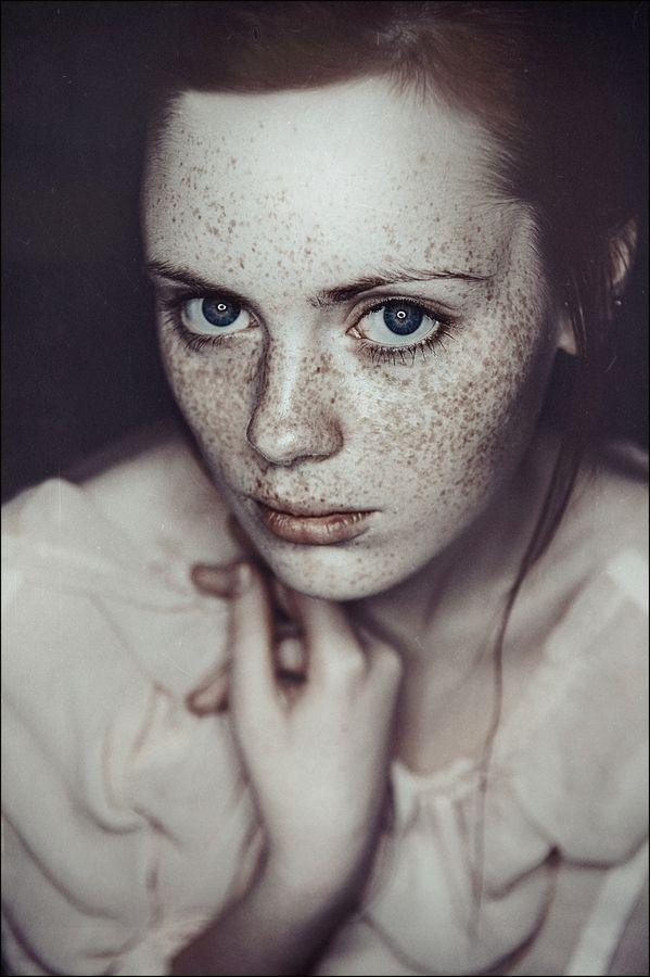Lena Dunaeva Red Hair Freckles Portrait Blue Eys Redhead Ginger Eyes