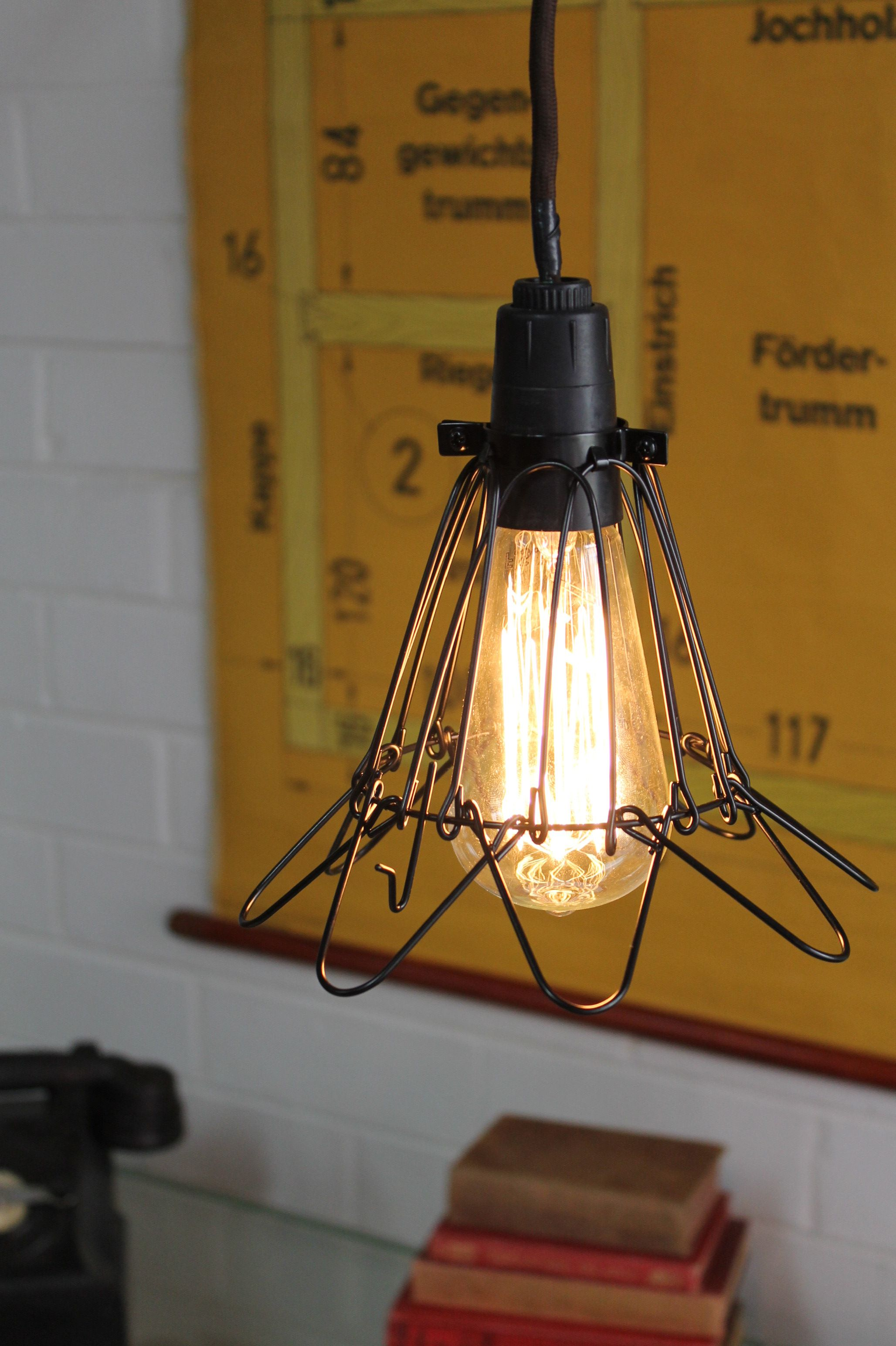 Wire Cage Industrial Pendant Trouble Light Lamp Light Light Vintage Industrial Lighting