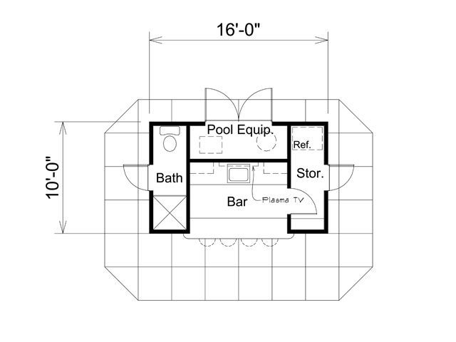 Poolhouse plan 95938 at familyhomeplanscom house plans for Swimming pool floor plan