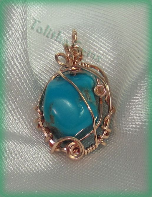 Fox Mine Turquoise Nugget Rose Gold Wire Wrapped Pendant Jewlery