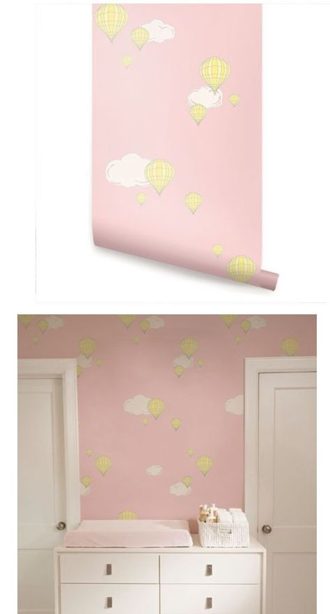 Hot Air Balloon Pink Peel And Stick Wallpaper Wall Sticker Outlet Peel And Stick Wallpaper Wall Wallpaper Wall Decor