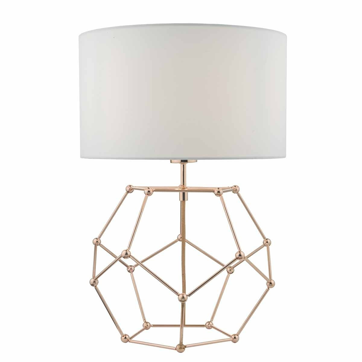 Coen Table Lamp Copper C W White Cotton Shade The Coen Is A Geometric Combination Inspired By The Structure Of Molecul Copper Table Lamp Table Lamp Geometric Lamp