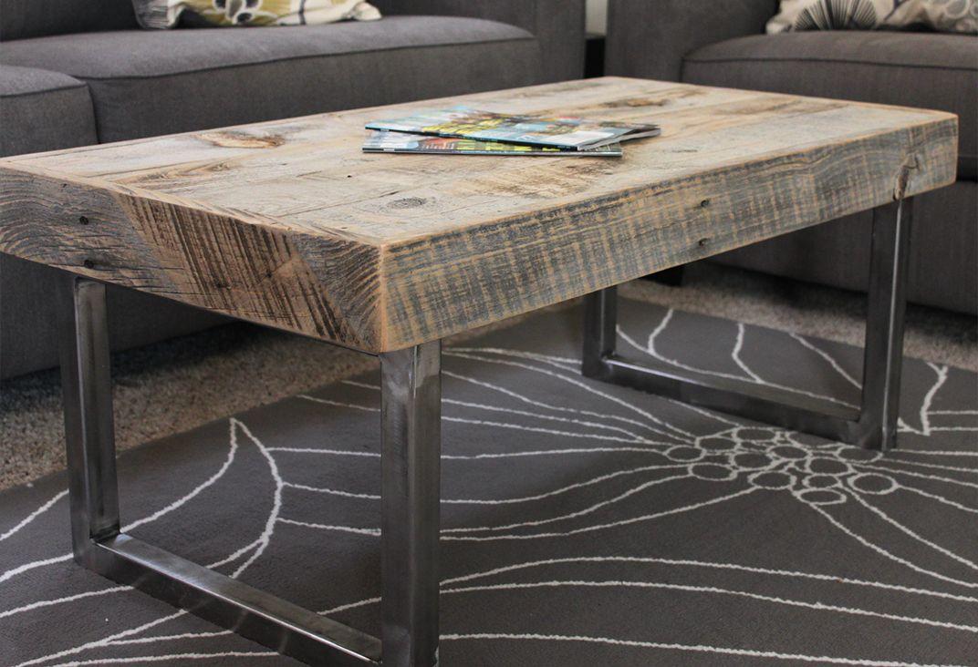 Reclaimed Wood Coffee Table Tube Steel Legs Reclaimed Wood