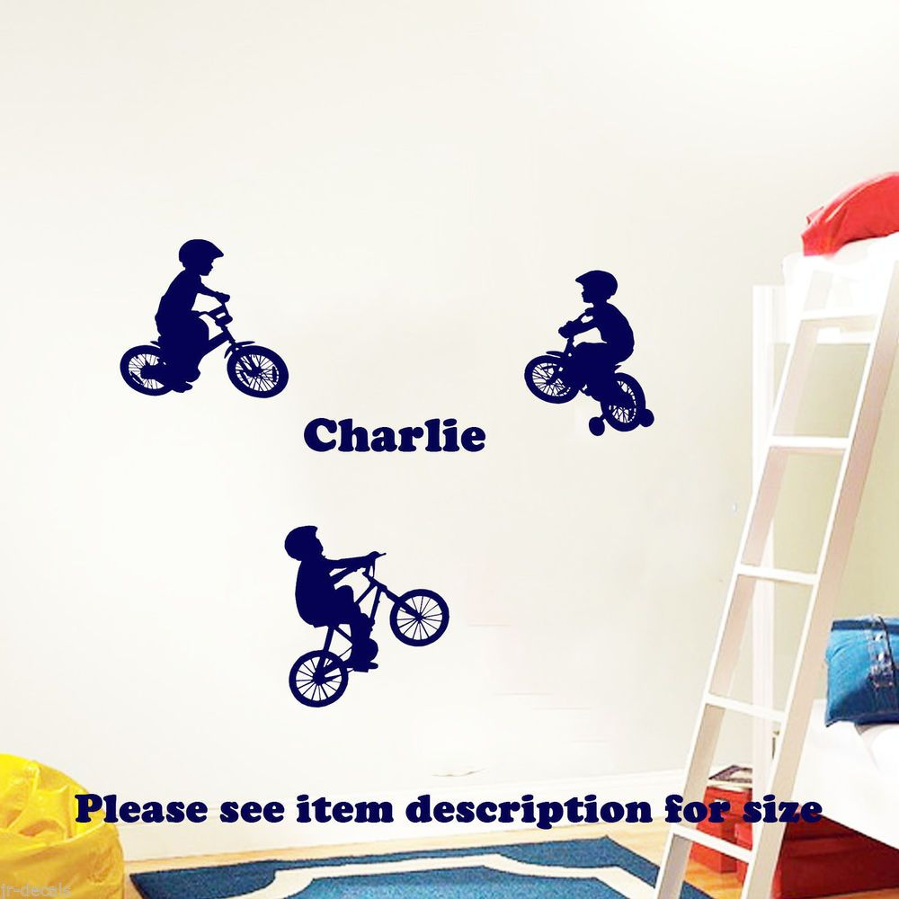 Details about Bicycle Kids MotorBike Name Wall stickers Decals Vinyl  Nursery bedroom arts X 3
