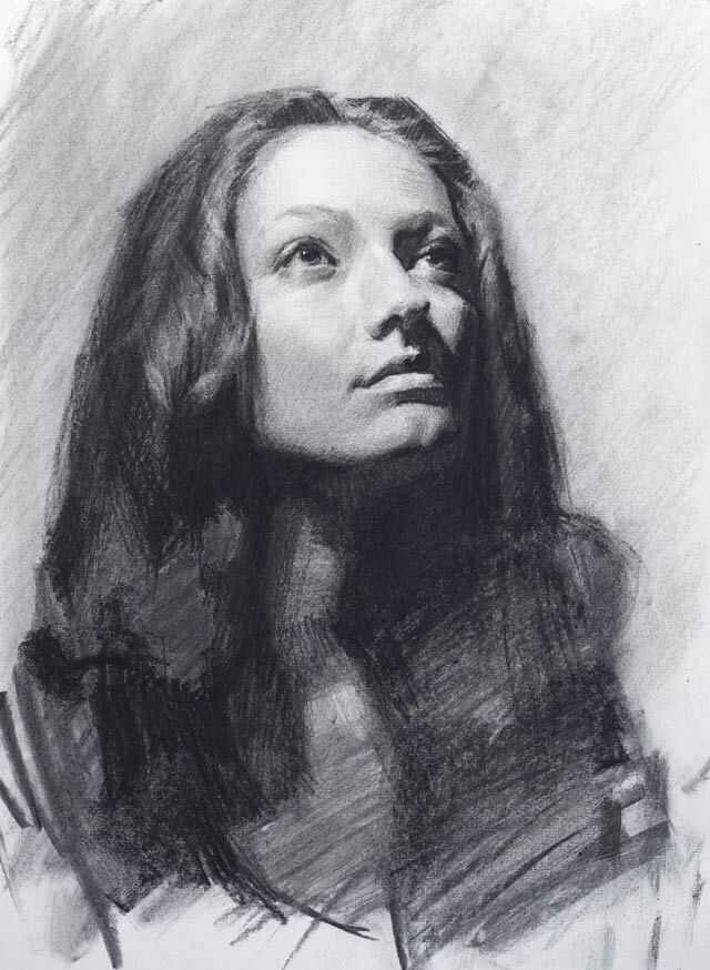 Рисунок углем портрет зависит дня