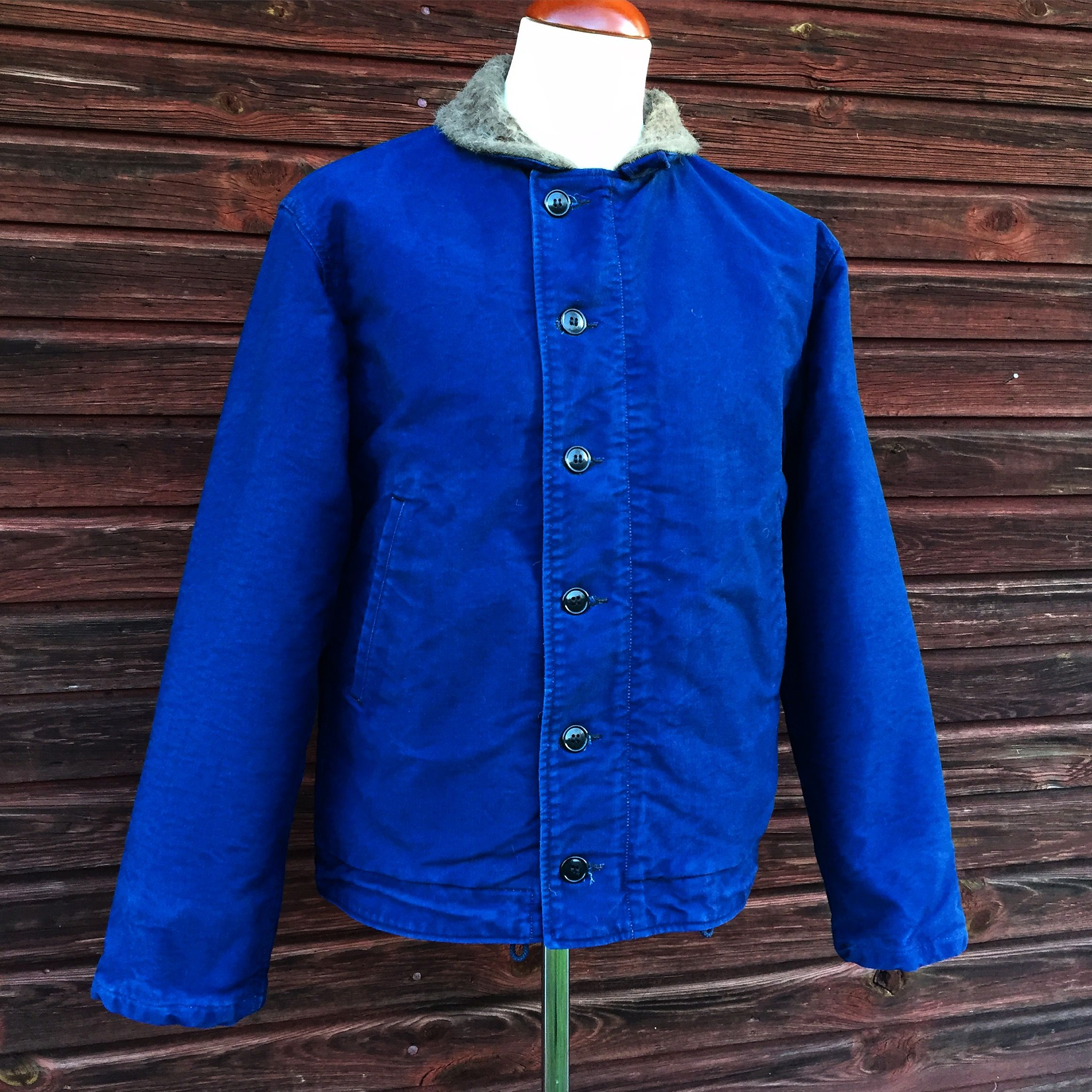 Buzz Rickson's x Sugar Cane, Indigo Deck Jacket. ) made in Japan, grossgrain)