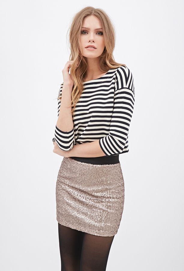 LOVE21 LOVE 21 Sequined Mini Skirt On Shopstyle