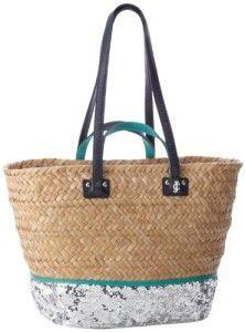 Women Accessories-Juicy Couture Malibu Straw And Sequin Beach YHRU3460 Tote 7992d2c94