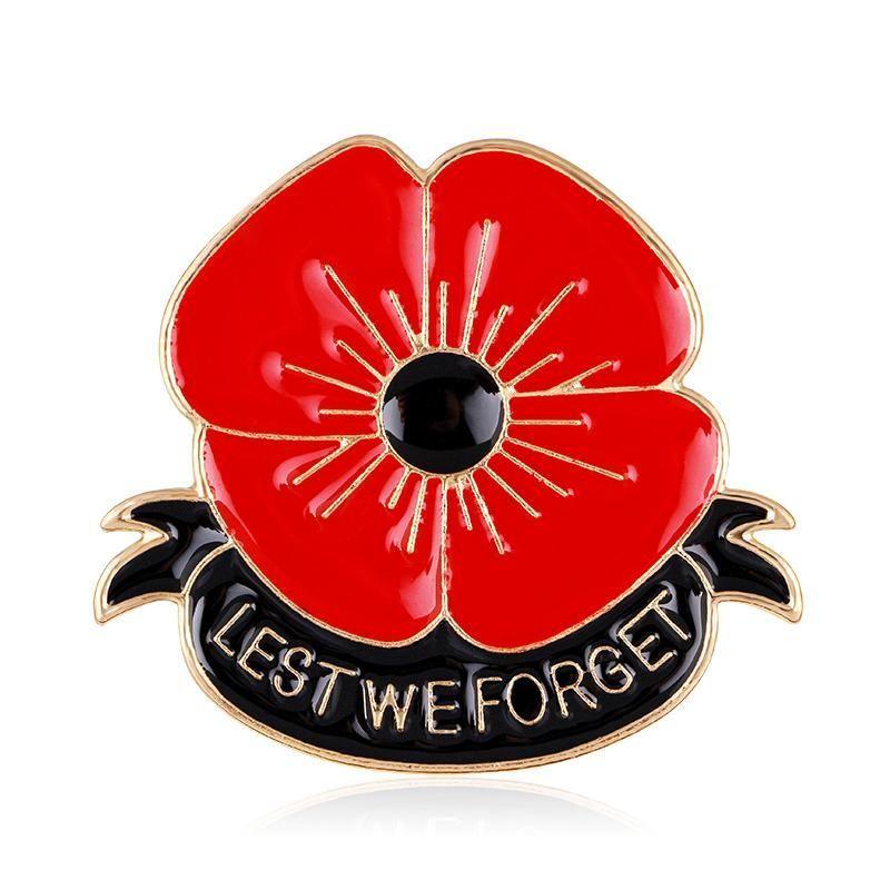 4a3751ffa34 British Red Poppy Brooch Flower Pin Engraved