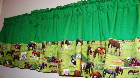 Horse Print Colorblock Valance Boys