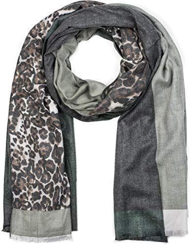 styleBREAKER Châle pour femme avec motif léopard et trois parties colorées  écharpe d hiver étole foulard 01017101 couleur Olive-gris-blanc 199a07d836e