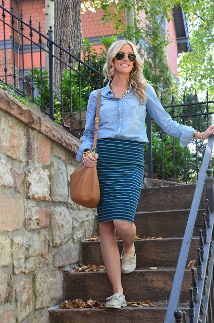 striped knit skirt, chambray shirt, flats.