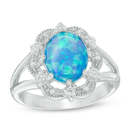 Zales Emerald-Cut Lab-Created Blue Opal and White Sapphire Tri-Sides Ring in Sterling Silver NtIkw