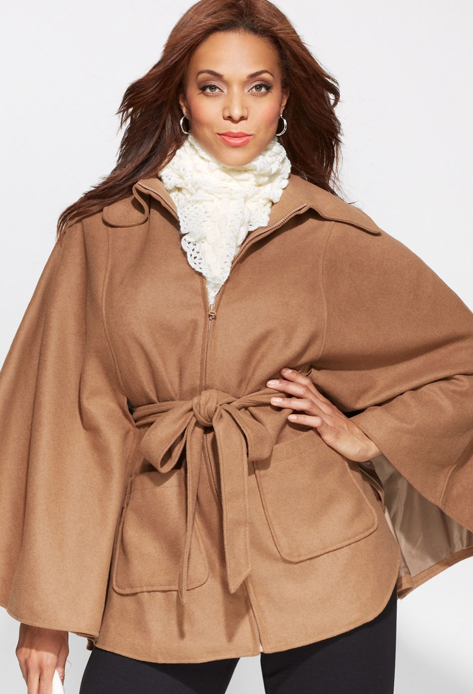 Plus Size Belted Wool Cape  9f11c07c847