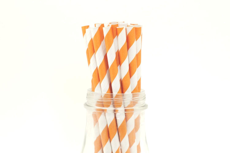 25 Burnt Orange Paper Straws Striped Retro Vintage Style Carnival ...