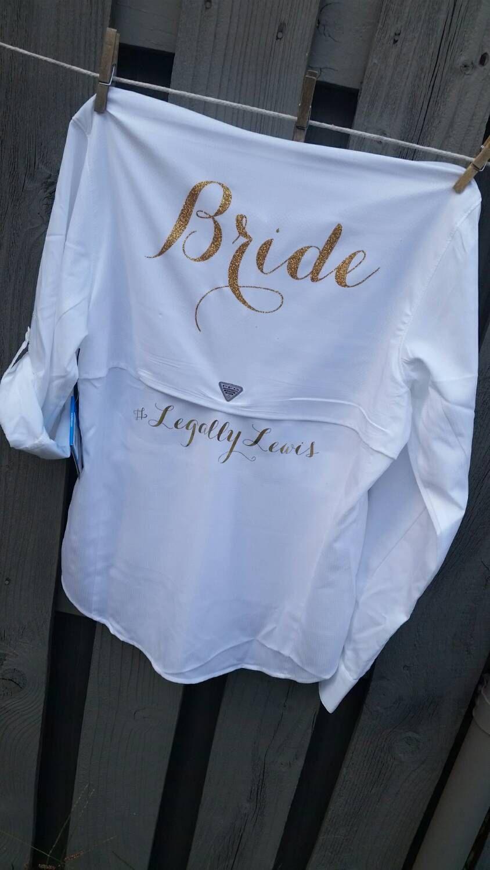 Bride button down wedding day pfg fishing shirt monogram for Button down fishing shirts