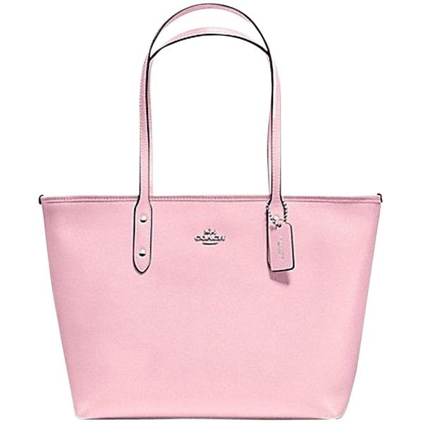 66fefbb71 Pre-owned Coach City Zip In Crossgrain Leather F36875 Petal Pink Tote...  (3,320 MXN) ❤ liked on Polyvore featuring bags, handbags, tote bags, petal  pink, ...