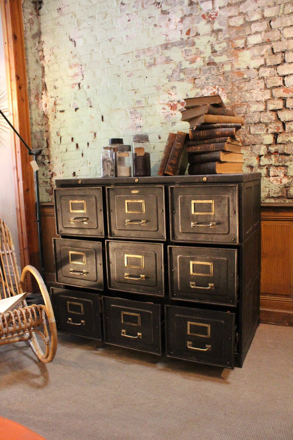 mobilier industriel strafor console 9 drawers meuble on fantastic repurposed furniture projects ideas in time for father s day id=84631