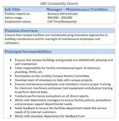 Sample Church Employee Job Descriptions Job description and Churches - church budget template example