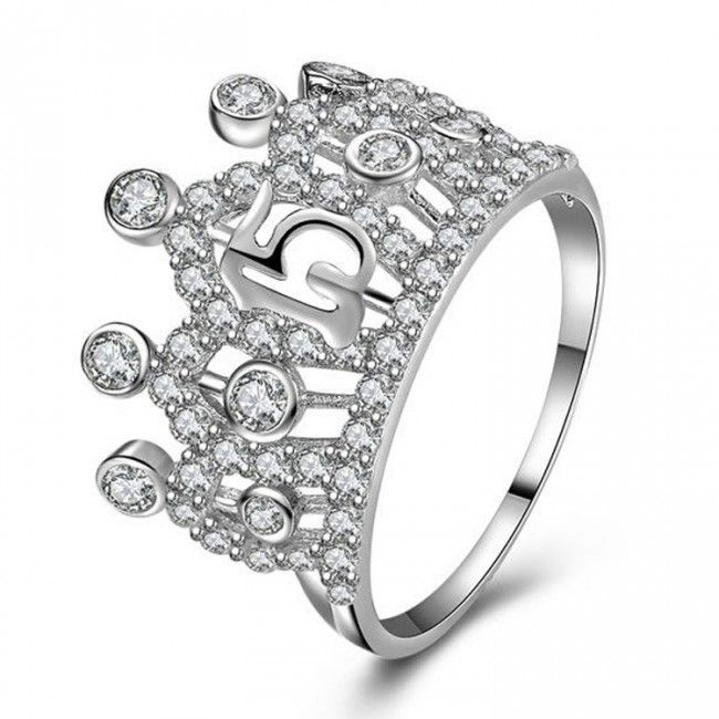 925 Sterling Silver Quinceanera Sweet 15 Crown Ring ...